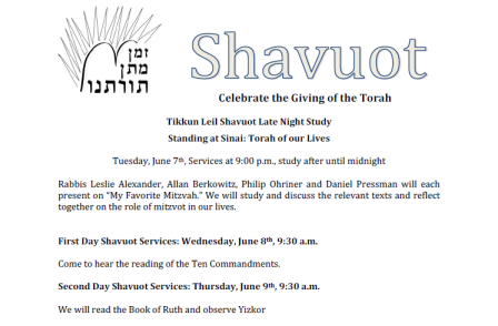 Flier for Congregation Beth David Shavout 2011 Learning and Services